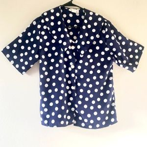 Vintage Navy & White Polka Dot Blouse 70s Collar